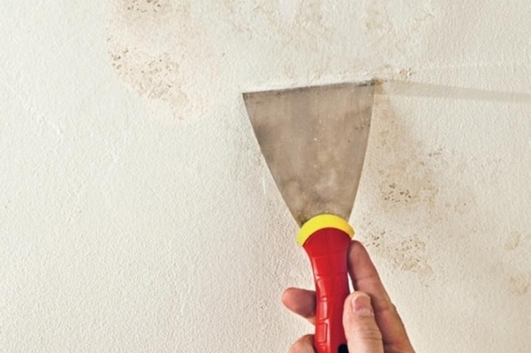 Как закрасить потолок после затопа