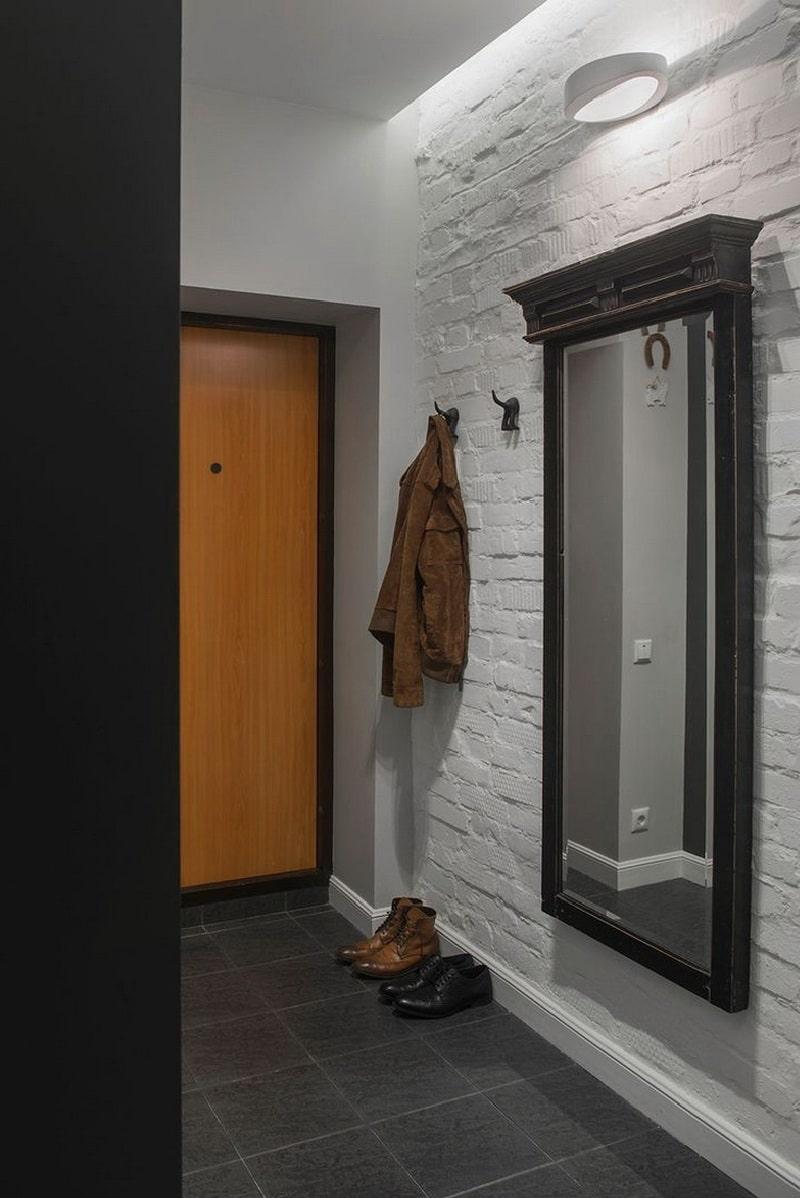 кирпичная стена белая в коридоре